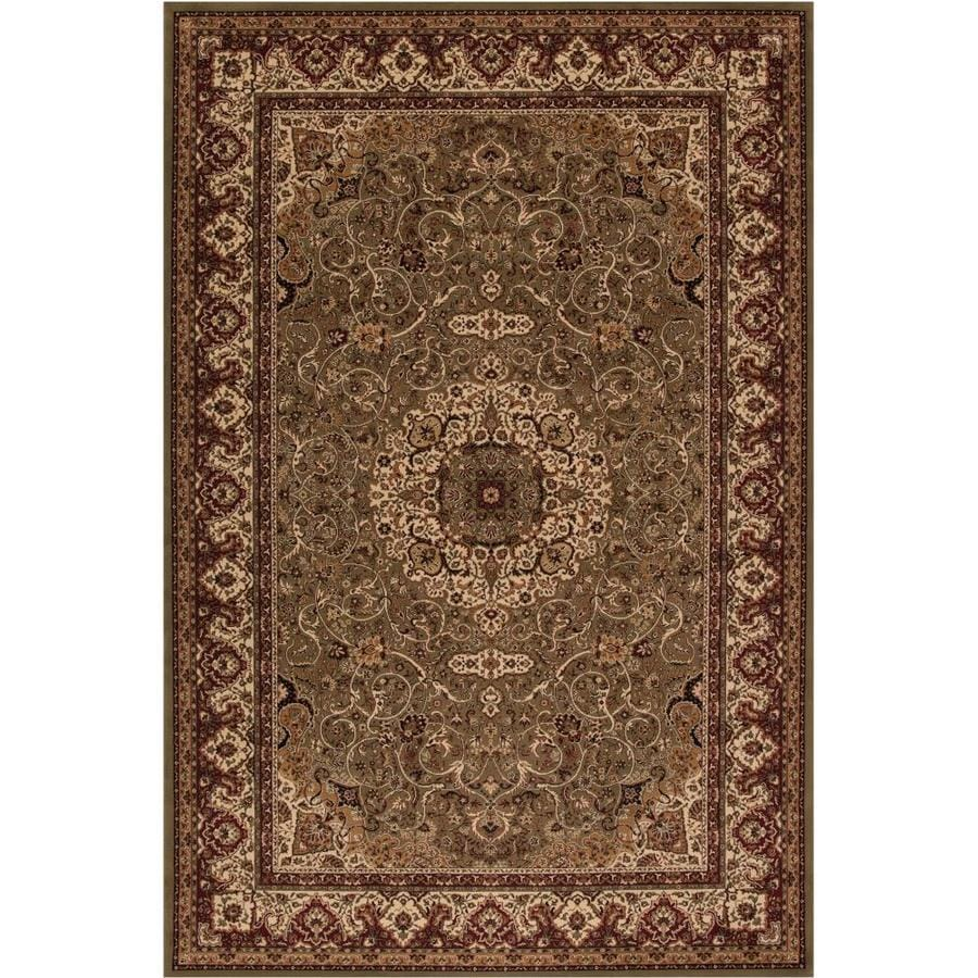 Concord Global Dynasty Green Rectangular Indoor Woven Oriental Throw Rug (Common: 3 x 5; Actual: 2.58-ft W x 5-ft L x 2.58-ft Dia)