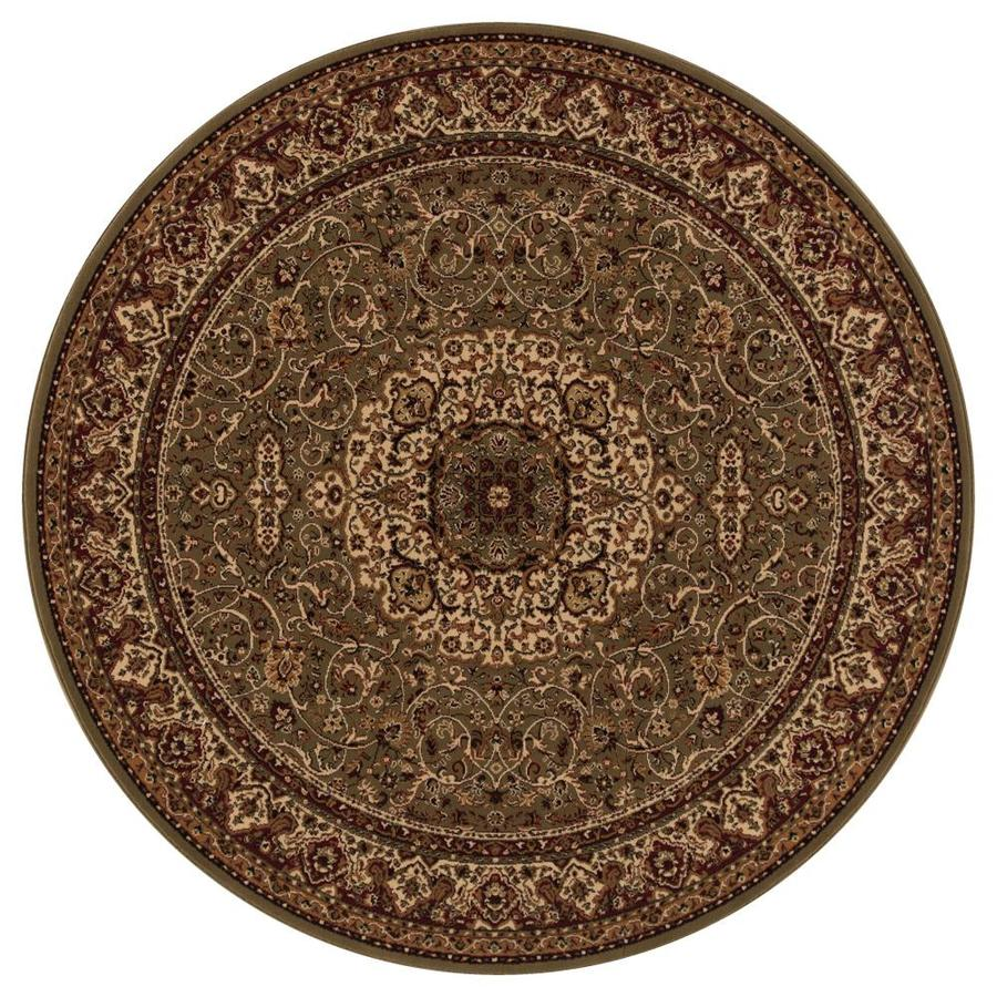 Concord Global Dynasty Green Round Indoor Woven Oriental Area Rug (Common: 8 x 8; Actual: 7.83-ft W x 7.83-ft L x 7.83-ft Dia)