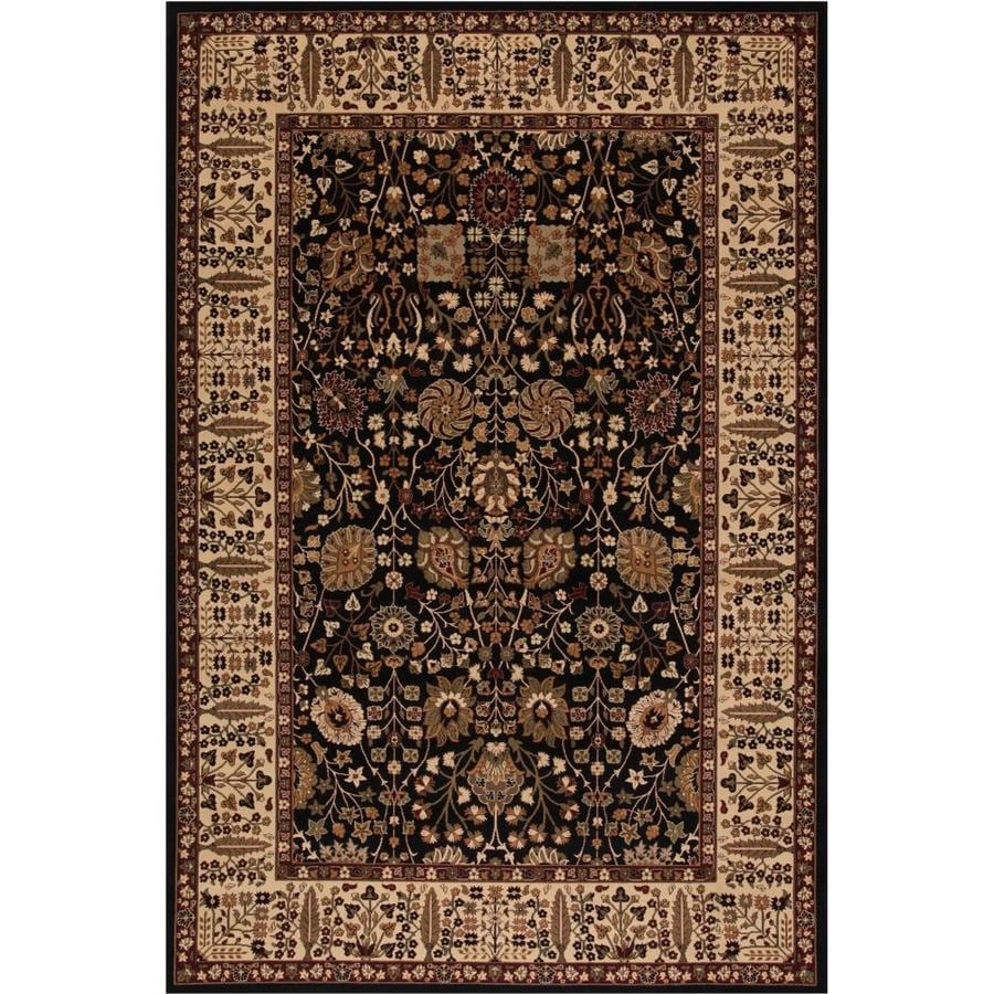 Concord Global Dynasty Black Rectangular Indoor Woven Oriental Area Rug (Common: 5 x 8; Actual: 5.25-ft W x 7.58-ft L x 5.25-ft Dia)