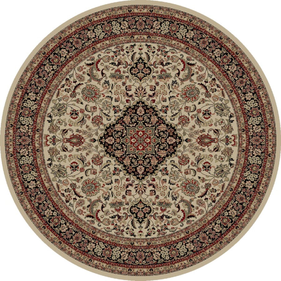 Concord Global Dynasty Ivory Round Indoor Woven Oriental Area Rug (Common: 8 x 8; Actual: 7.83-ft W x 7.83-ft L x 7.83-ft Dia)