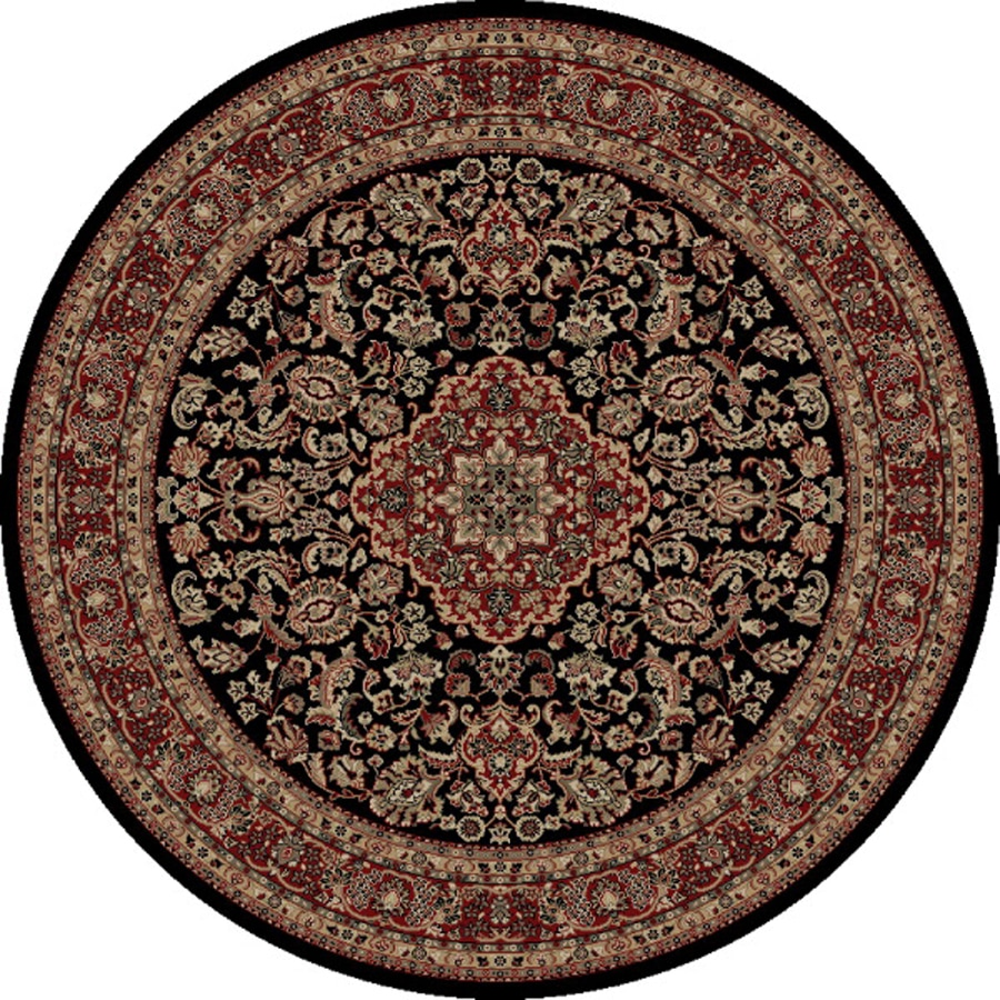 Concord Global Dynasty Black Round Indoor Woven Oriental Area Rug (Common: 5 x 5; Actual: 5.25-ft W x 5.25-ft L x 5.25-ft Dia)