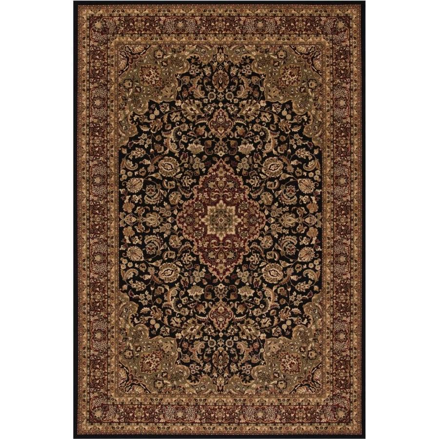 Concord Global Dynasty Black Rectangular Indoor Woven Oriental Area Rug (Common: 4 x 6; Actual: 3.92-ft W x 5.58-ft L x 3.92-ft Dia)