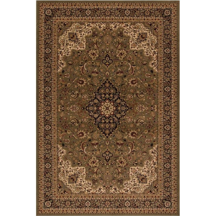 Concord Global Dynasty Green Rectangular Indoor Woven Oriental Area Rug (Common: 4 x 6; Actual: 3.92-ft W x 5.58-ft L x 3.92-ft Dia)