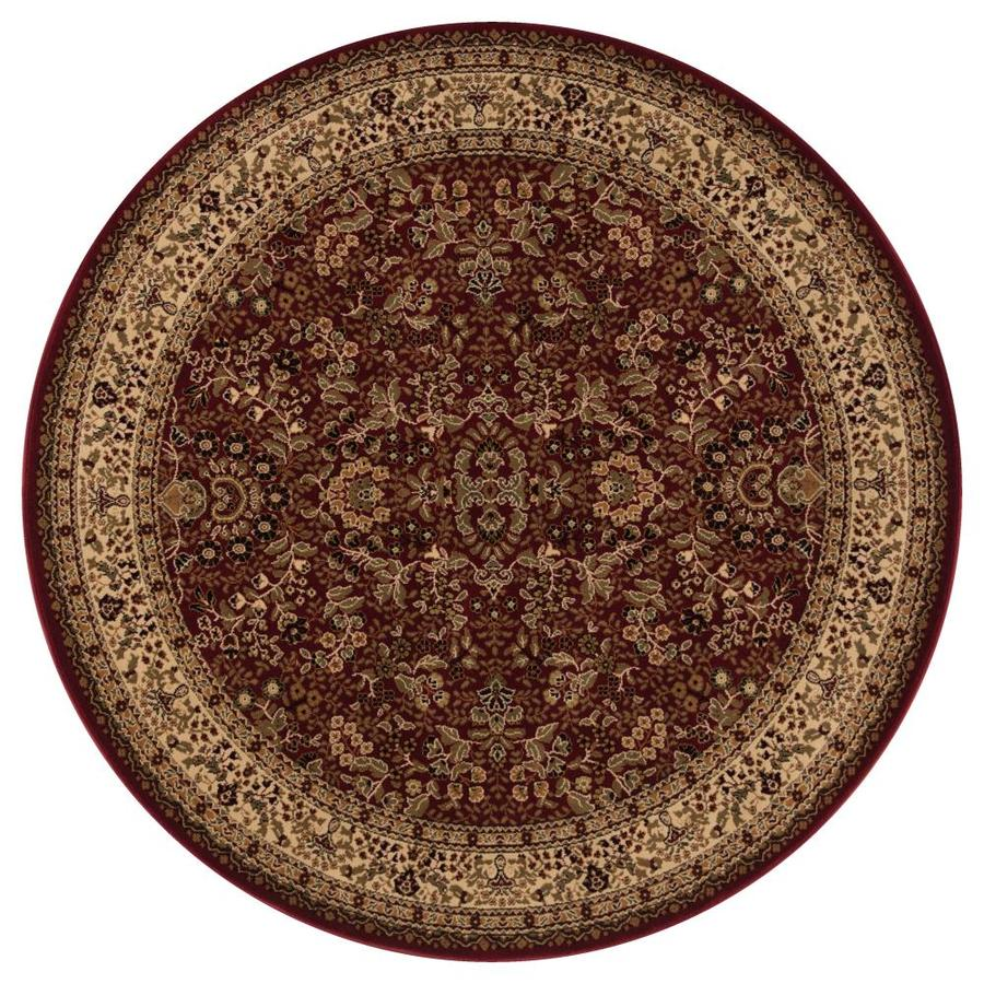 Concord Global Dynasty Red Round Indoor Woven Oriental Area Rug (Common: 5 x 5; Actual: 5.25-ft W x 5.25-ft L x 5.25-ft Dia)