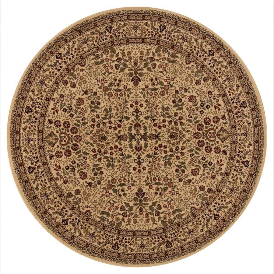 Concord Global Dynasty Ivory Round Indoor Woven Oriental Area Rug (Common: 5 x 5; Actual: 5.25-ft W x 5.25-ft L x 5.25-ft Dia)
