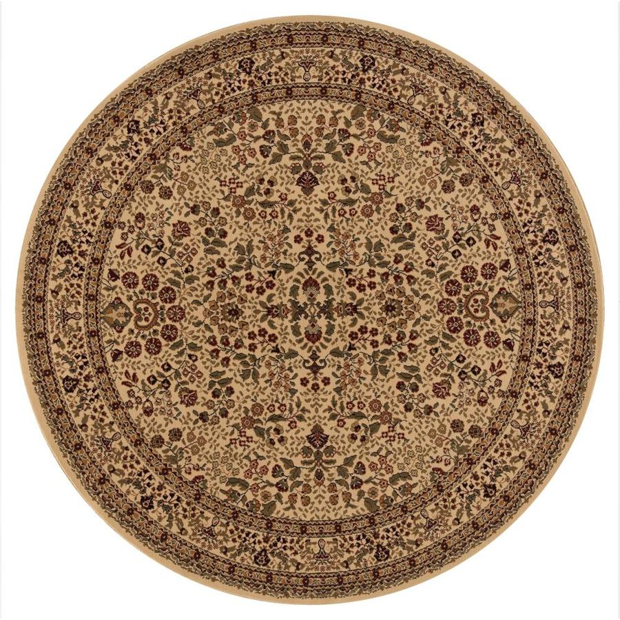 Concord Global Dynasty Ivory Round Indoor Woven Oriental Area Rug (Common: 5 x 5; Actual: 63-in W x 63-in L x 5.25-ft Dia)