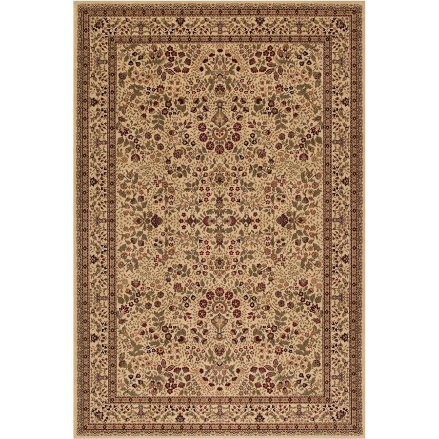 Concord Global Dynasty Ivory Rectangular Indoor Woven Oriental Area Rug (Common: 4 x 6; Actual: 3.92-ft W x 5.58-ft L x 3.92-ft Dia)