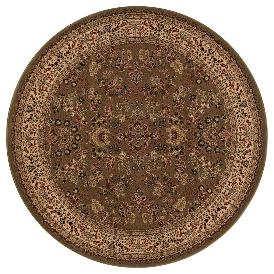Concord Global Dynasty Green Round Indoor Woven Oriental Area Rug (Common: 5 x 5; Actual: 5.25-ft W x 5.25-ft L x 5.25-ft Dia)