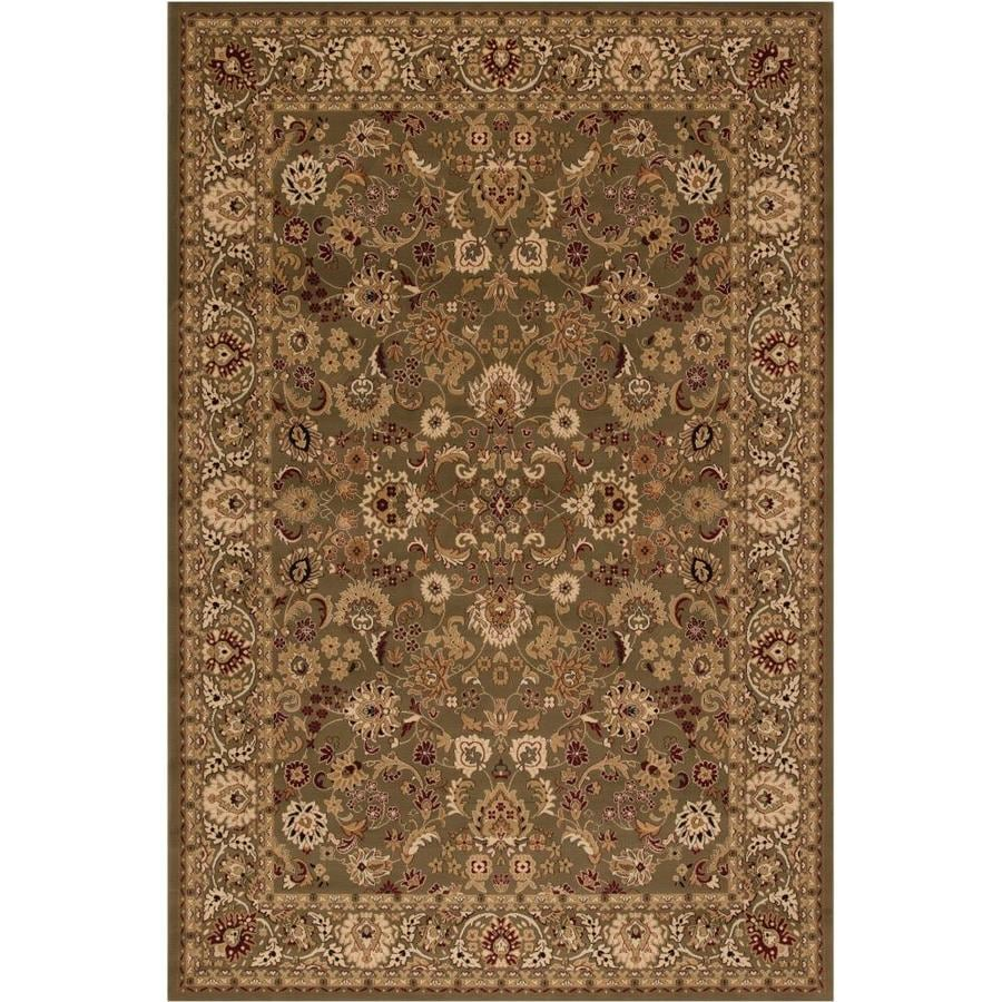 Concord Global Dynasty Green Rectangular Indoor Machine-made Oriental Area Rug (Common: 4 x 6; Actual: 3.92-ft W x 5.58-ft L x 3.92-ft Dia)