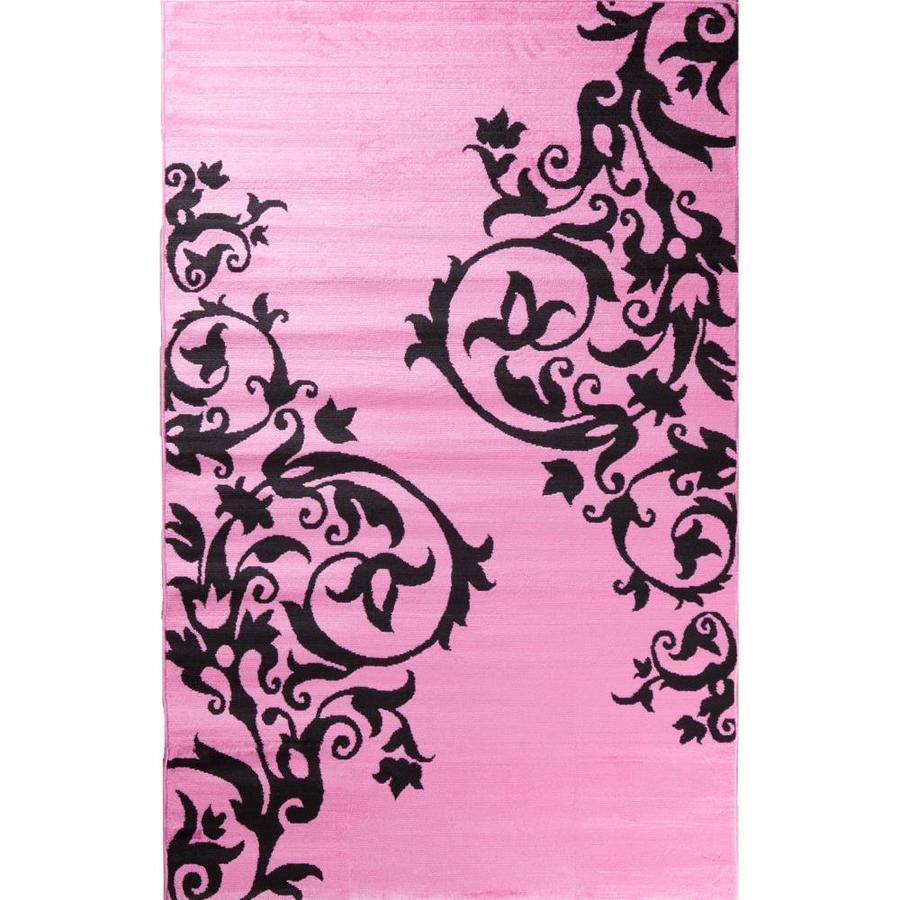 Concord Global Dante Pink Rectangular Indoor Woven Kids Area Rug (Common: 3 x 5; Actual: 3.33-ft W x 5-ft L x 3.33-ft Dia)