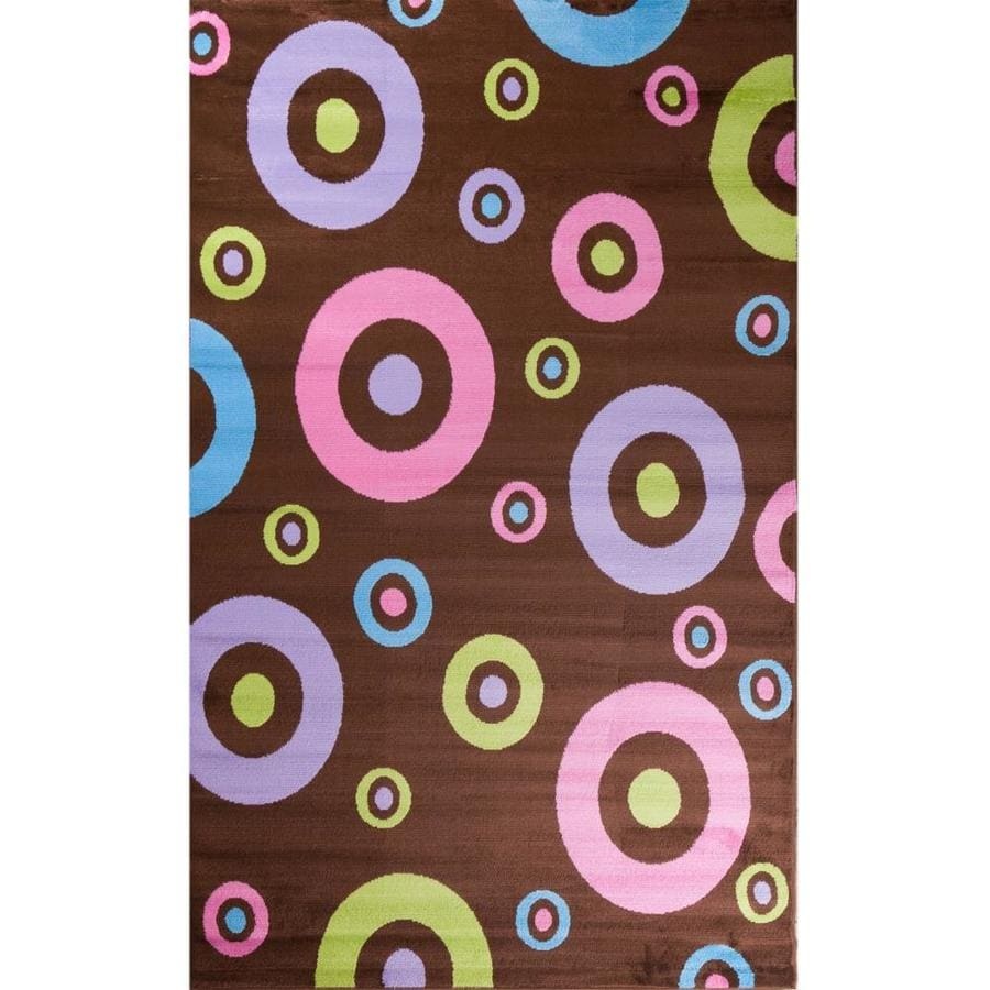 Concord Global Dante Brown Rectangular Indoor Woven Kids Area Rug (Common: 5 x 7; Actual: 5-ft W x 7-ft L x 5-ft Dia)