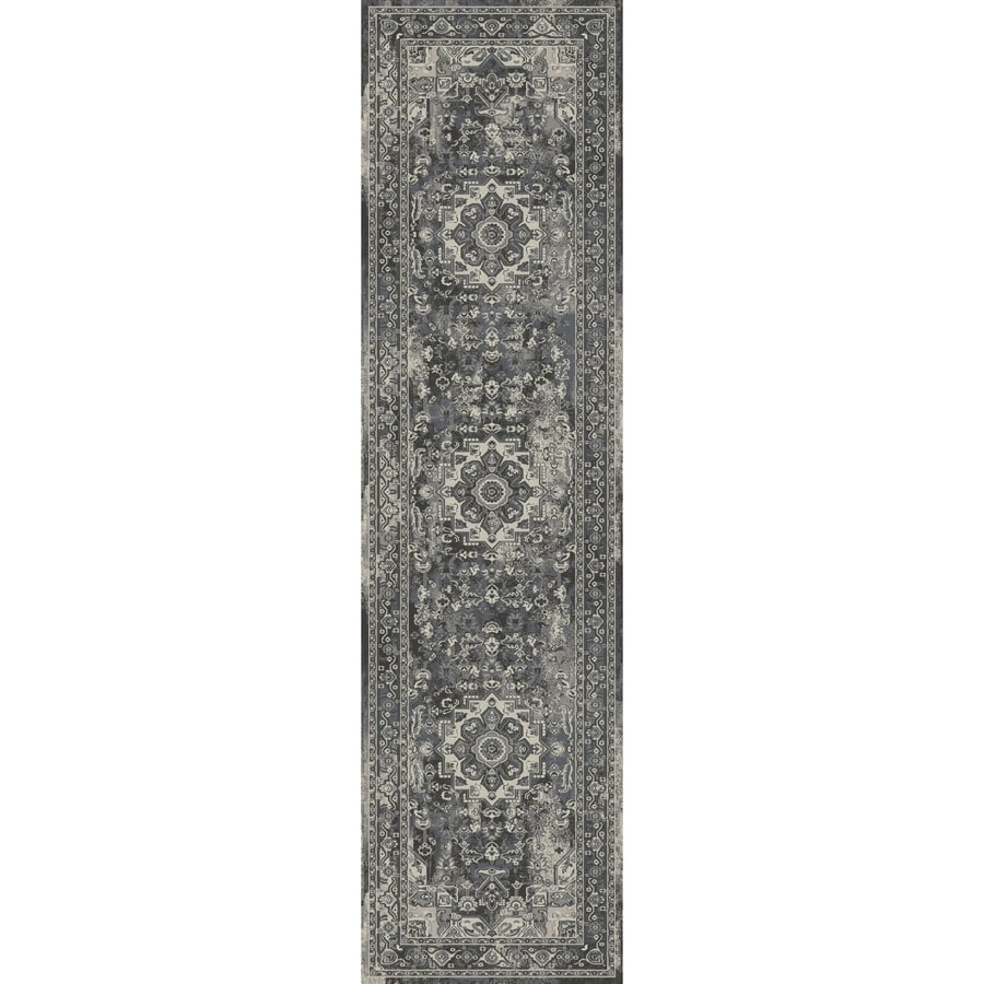 Concord Global Troy Anthracite Rectangular Indoor Machine-Made Oriental Runner (Common: 2 x 7; Actual: 2-ft W x 7.25-ft L)