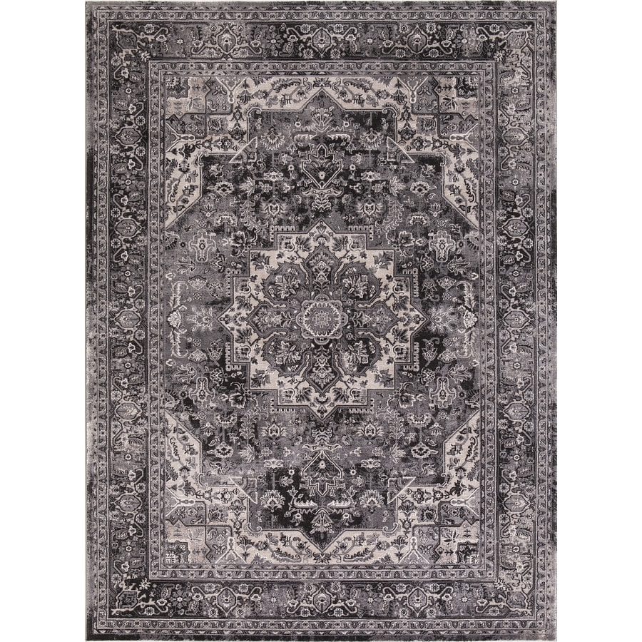 Concord Global Troy Anthracite Rectangular Indoor Machine-Made Oriental Area Rug (Common: 7 x 10; Actual: 6.58-ft W x 9.25-ft L)