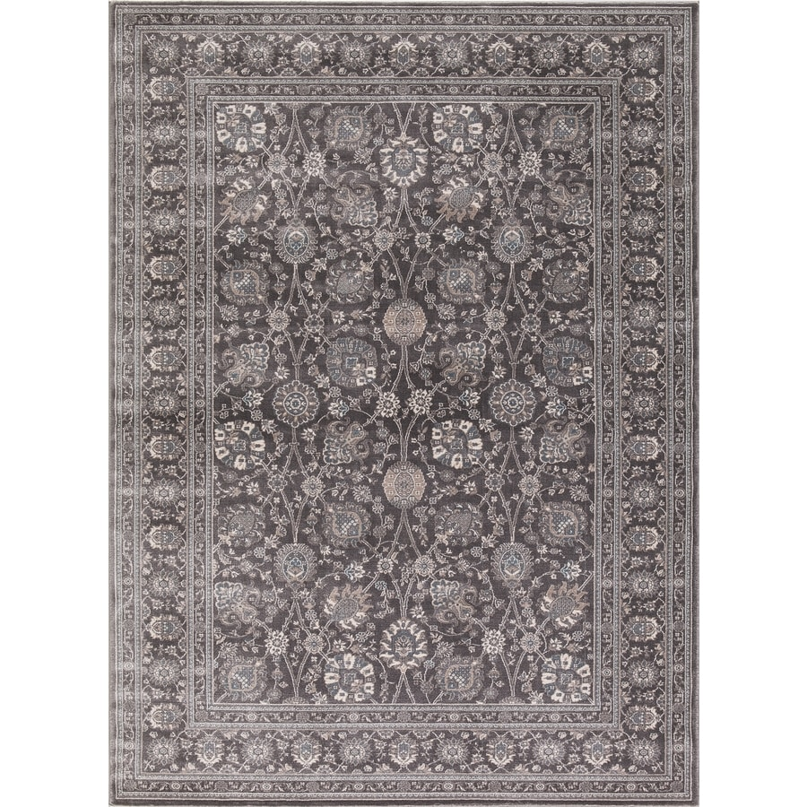 Concord Global Troy Gray Rectangular Indoor Machine-Made Oriental Area Rug (Common: 5 x 7; Actual: 5.25-ft W x 7.25-ft L)