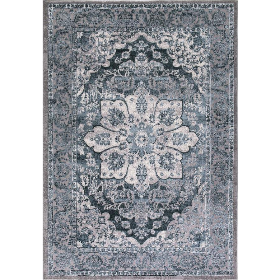 Concord Global Toledo Teal Rectangular Indoor Machine-Made Oriental Area Rug (Common: 5 x 7; Actual: 5.25-ft W x 7.25-ft L)