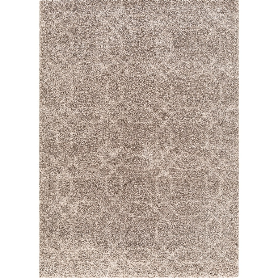 Concord Global Micro Shaggy Beige Rectangular Indoor Machine-Made Oriental Area Rug (Common: 5 x 7; Actual: 5.25-ft W x 7.25-ft L)