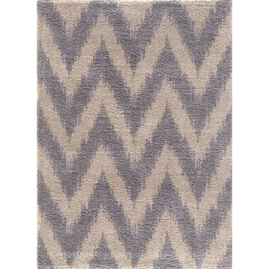 Concord Global Micro Shaggy Gray Rectangular Indoor Machine-Made Oriental Area Rug (Common: 5 x 7; Actual: 5.25-ft W x 7.25-ft L)
