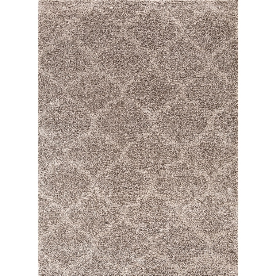 Concord Global Micro Shaggy Beige Rectangular Indoor Machine-Made Oriental Area Rug (Common: 7 x 10; Actual: 6.58-ft W x 9.25-ft L)