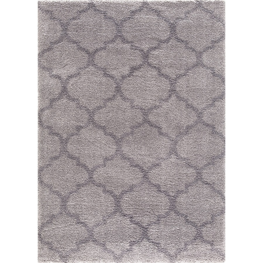 Concord Global Micro Shaggy Gray Rectangular Indoor Machine-Made Oriental Area Rug (Common: 7 x 10; Actual: 6.58-ft W x 9.25-ft L)