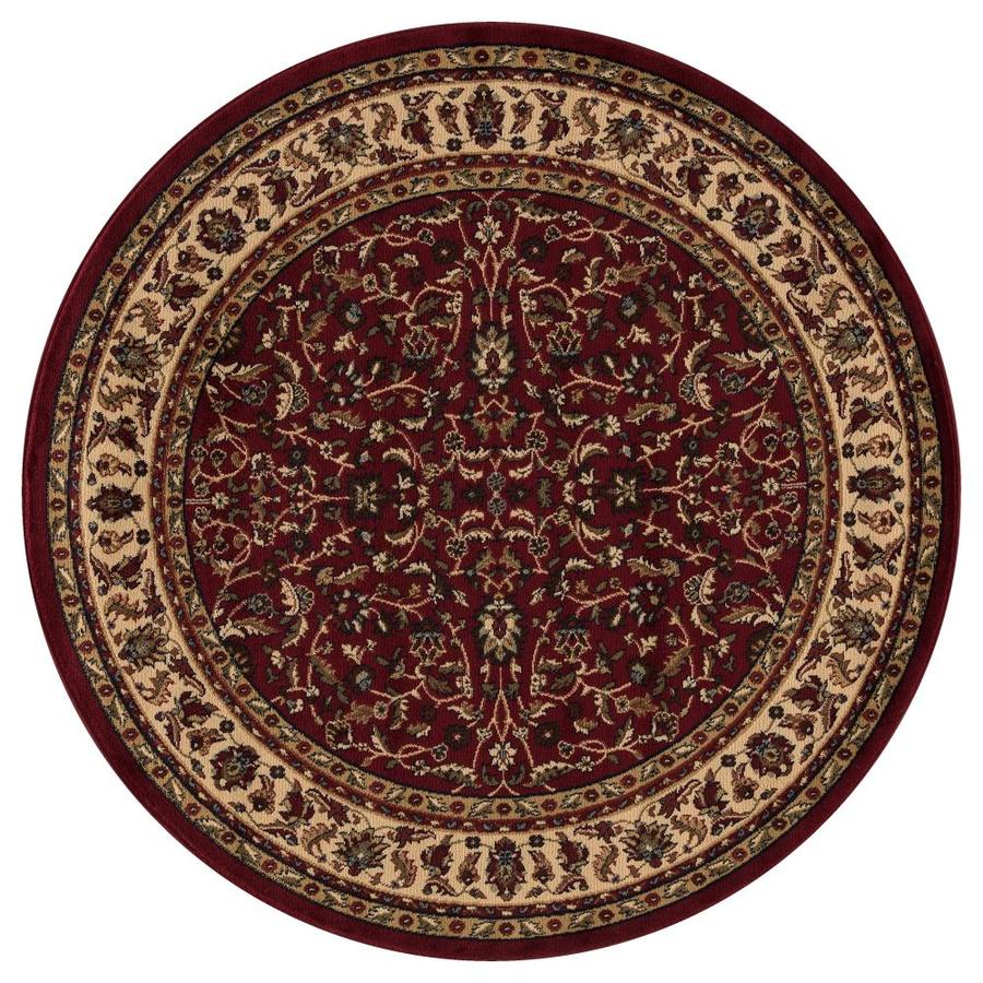 Concord Global Valencia Red Round Indoor Machine-made Oriental Area Rug (Common: 5 x 5; Actual: 5.25-ft W x 5.25-ft L x 5.25-ft Dia)