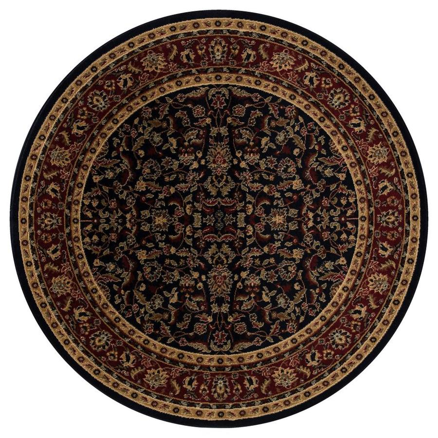Concord Global Valencia Navy Round Indoor Woven Oriental Area Rug (Common: 5 x 5; Actual: 5.25-ft W x 5.25-ft L x 5.25-ft Dia)