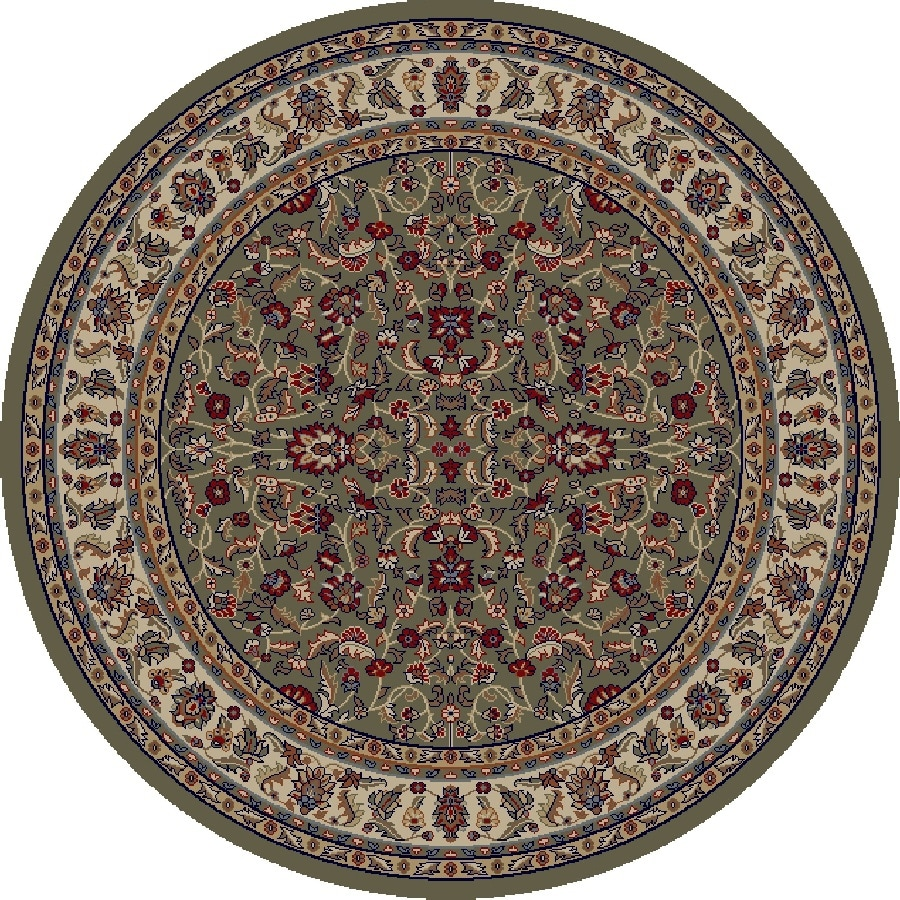 Concord Global Valencia Green Round Indoor Woven Oriental Area Rug (Common: 5 x 5; Actual: 5.25-ft W x 5.25-ft L x 5.25-ft Dia)