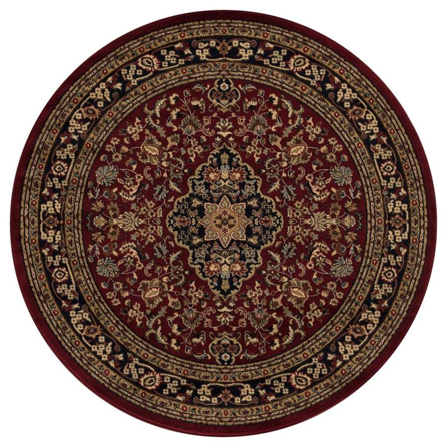 Concord Global Valencia Red Round Indoor Woven Oriental Area Rug (Common: 5 x 5; Actual: 5.25-ft W x 5.25-ft L x 5.25-ft Dia)