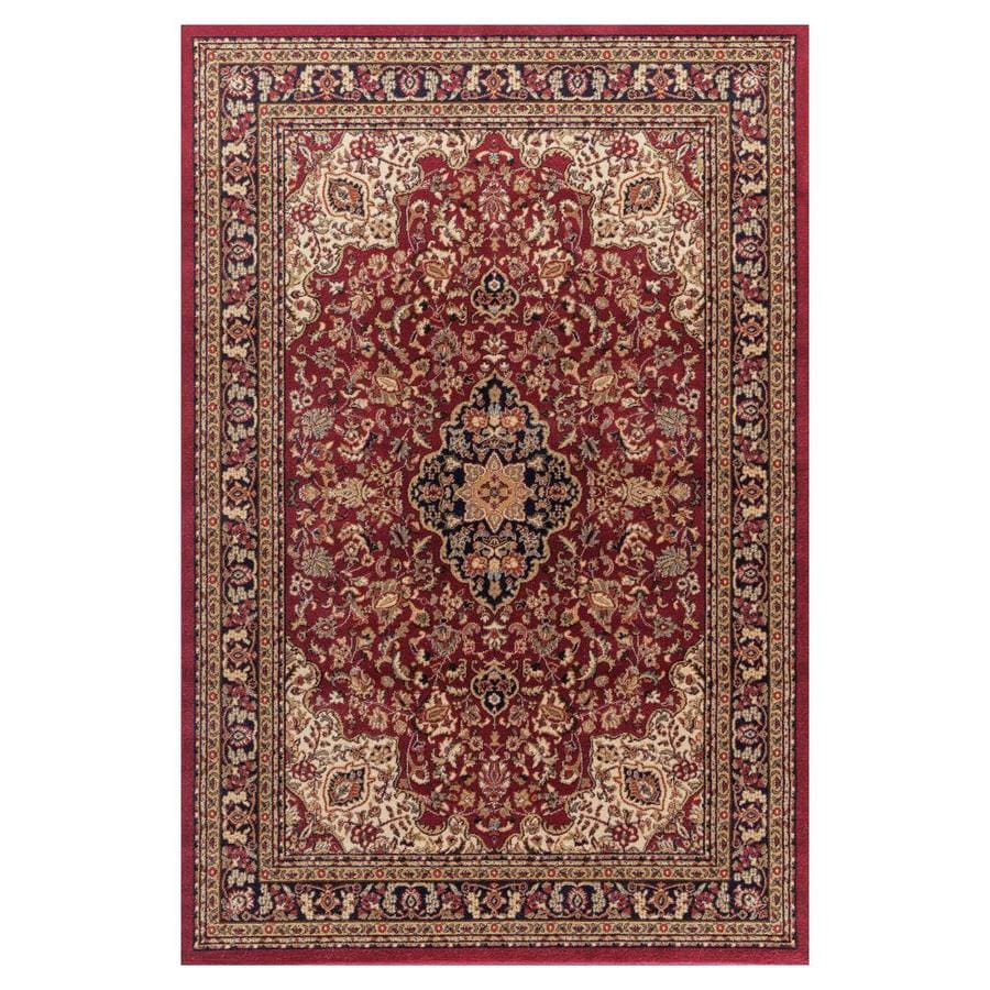 Concord Global Valencia Red Rectangular Indoor Machine-Made Oriental Area Rug (Common: 5 x 8; Actual: 5.25-ft W x 7.58-ft L x 5.25-ft Dia)