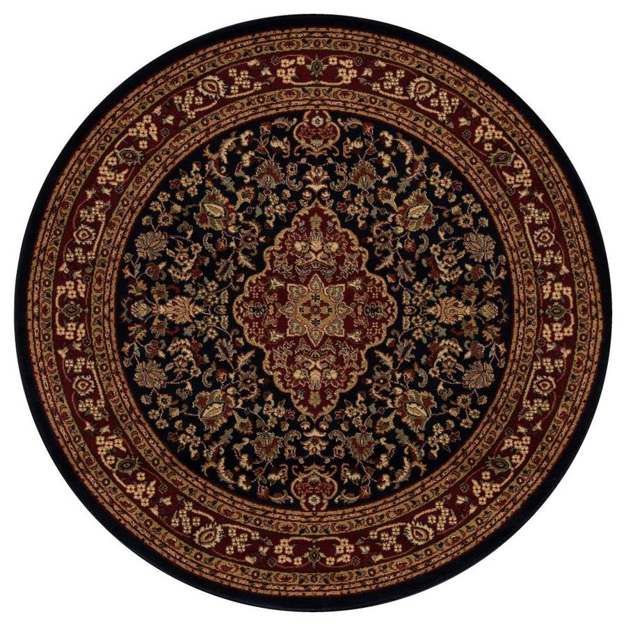 Concord Global Valencia Navy Round Indoor Oriental Area Rug (Common: 5 x 5; Actual: 5.25-ft W x 5.25-ft L x 5.25-ft dia)