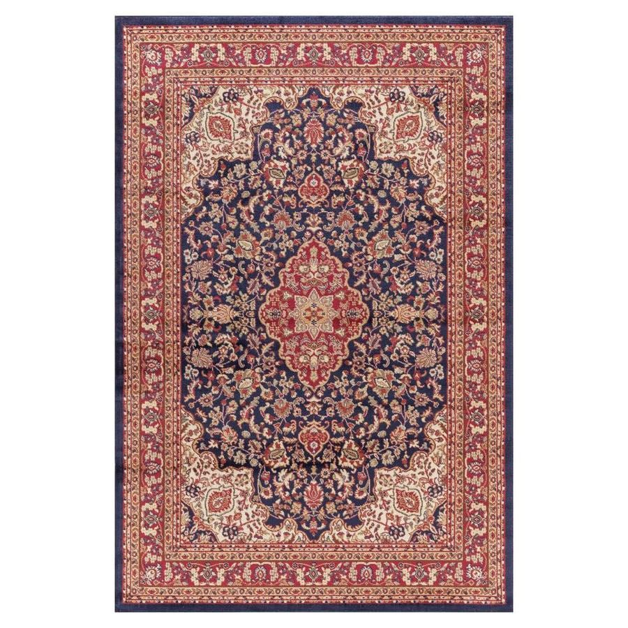 Concord Global Valencia Navy Rectangular Indoor Machine-made Oriental Area Rug (Common: 7 x 10; Actual: 6.58-ft W x 9.25-ft L x 6.58-ft Dia)