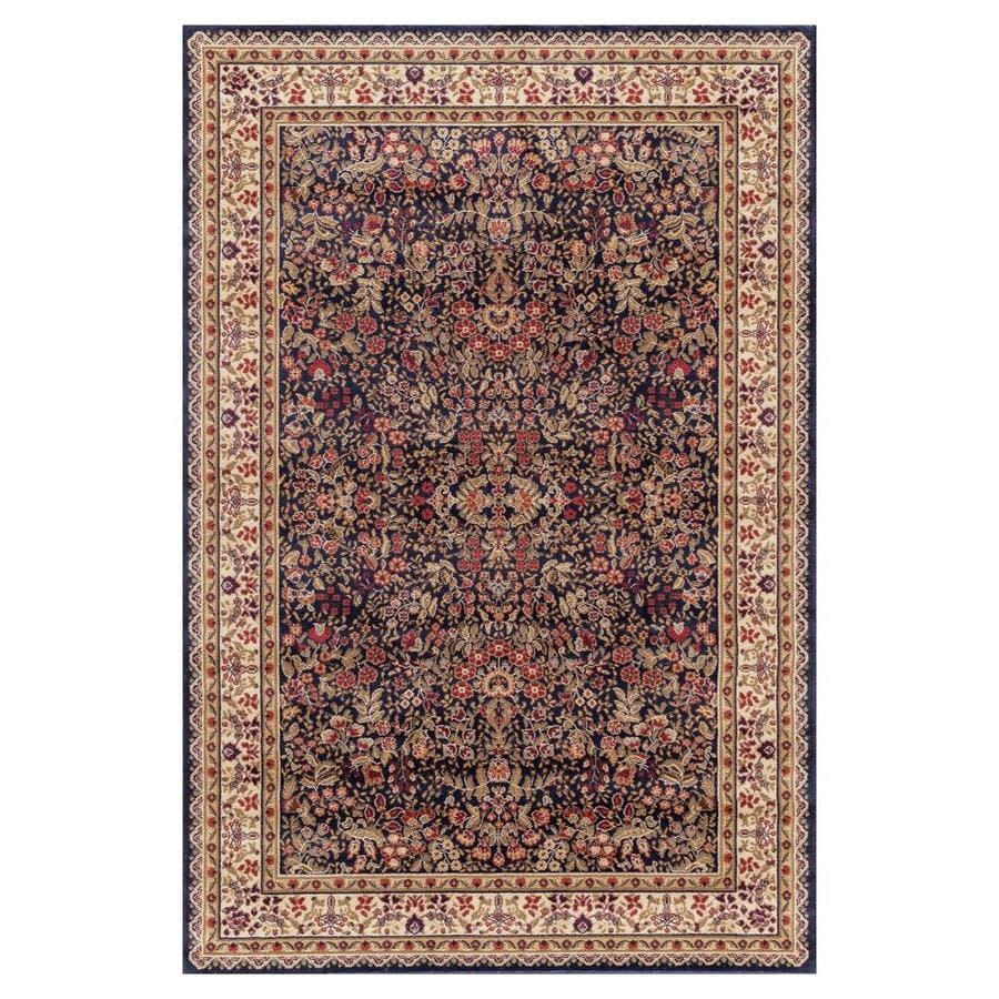 Concord Global Valencia Navy Rectangular Indoor Woven Oriental Area Rug (Common: 7 x 9; Actual: 6.58-ft W x 9.25-ft L x 6.58-ft Dia)