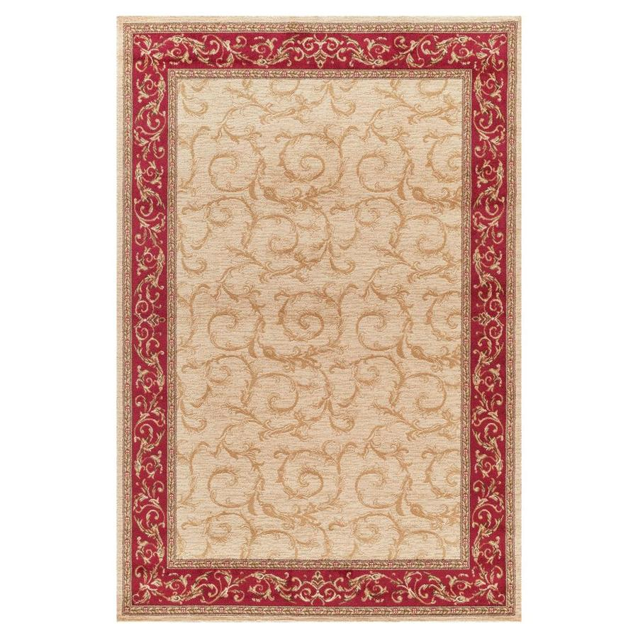 Concord Global Valencia Ivory Rectangular Indoor Machine-made Oriental Area Rug (Common: 5 x 8; Actual: 5.25-ft W x 7.58-ft L x 5.25-ft Dia)