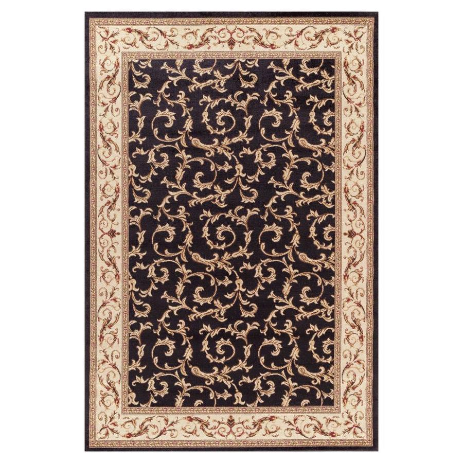 Concord Global Valencia Black Rectangular Indoor Woven Oriental Area Rug (Common: 7 x 9; Actual: 6.58-ft W x 9.25-ft L x 6.58-ft Dia)