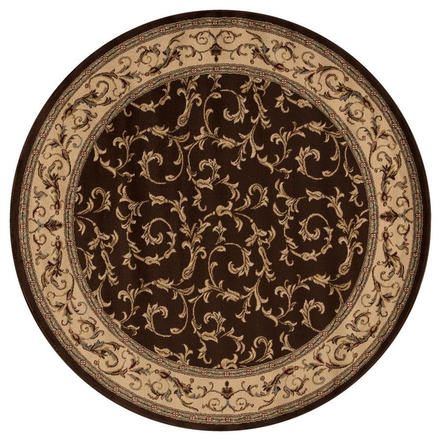 Concord Global Valencia Brown Round Indoor Woven Oriental Area Rug (Common: 5 x 5; Actual: 5.25-ft W x 5.25-ft L x 5.25-ft Dia)