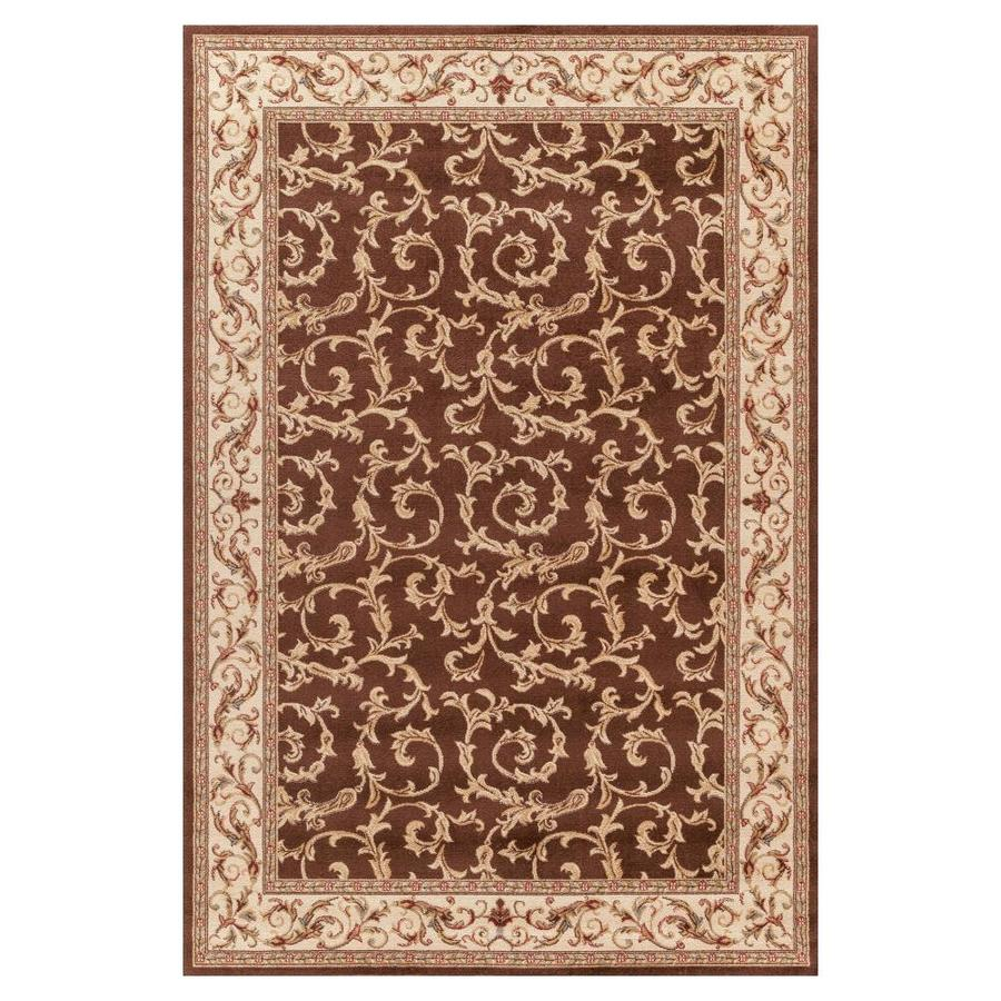 Concord Global Valencia Brown Rectangular Indoor Woven Oriental Area Rug (Common: 5 x 8; Actual: 5.25-ft W x 7.58-ft L x 5.25-ft Dia)