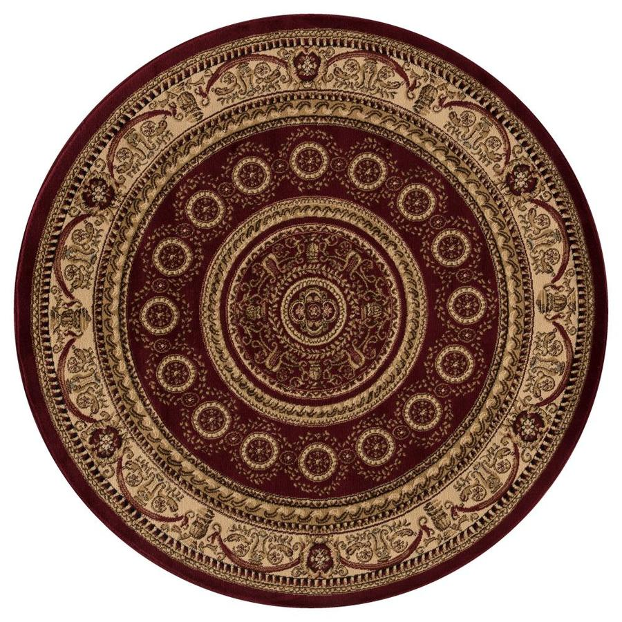 Concord Global Valencia Red Round Indoor Oriental Area Rug (Common: 5 x 5; Actual: 5.25-ft W x 5.25-ft L x 5.25-ft dia)