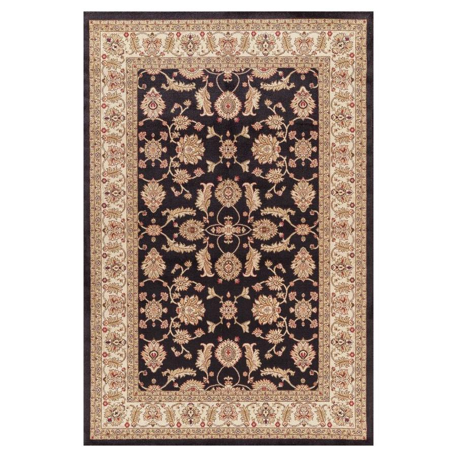 Concord Global Valencia Black Rectangular Indoor Woven Oriental Area Rug (Common: 5 x 8; Actual: 5.25-ft W x 7.58-ft L x 5.25-ft Dia)