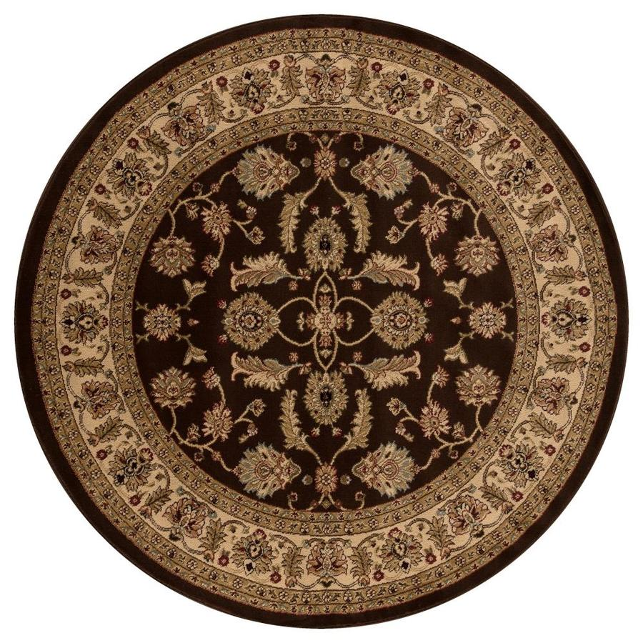 Concord Global Valencia Brown Round Indoor Woven Oriental Area Rug (Common: 5 x 5; Actual: 63-in W x 63-in L x 5.25-ft Dia)