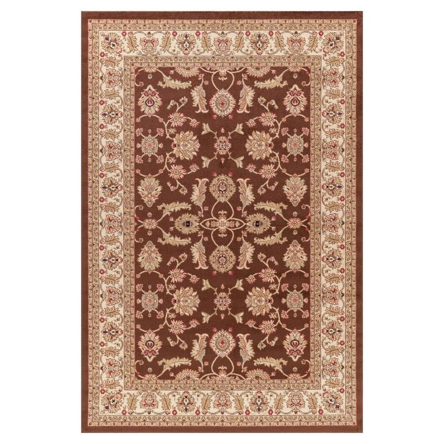Concord Global Valencia Brown Rectangular Indoor Woven Oriental Area Rug (Common: 8 x 10; Actual: 7.83-ft W x 9.83-ft L x 7.83-ft Dia)