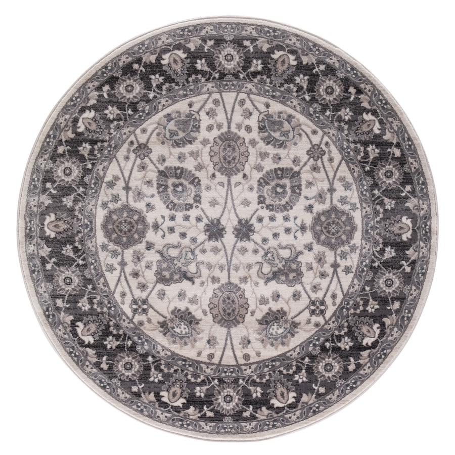 Concord Global Palermo Ivory/Gray Round Indoor Machine-Made Oriental Area Rug (Common: 5 x 5; Actual: 5.25-ft W x 5.25-ft L x 5.25-ft Dia)