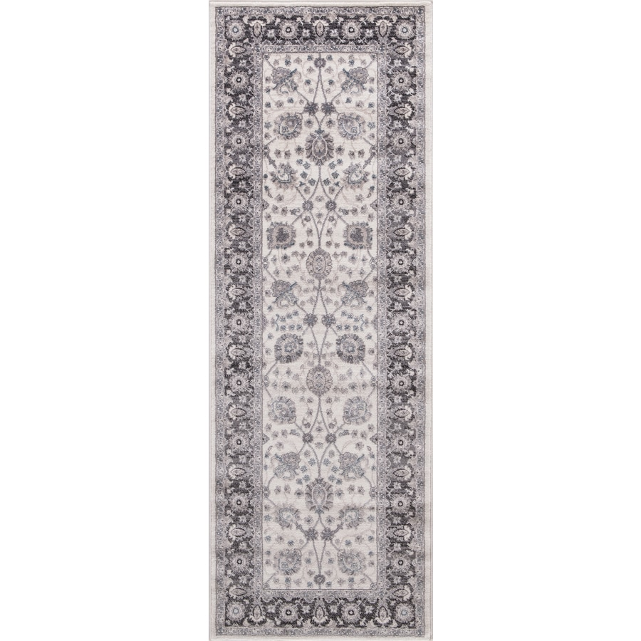 Concord Global Palermo Ivory/Gray Rectangular Indoor Machine-Made Oriental Runner (Common: 2 x 8; Actual: 2.58-ft W x 7.58-ft L)