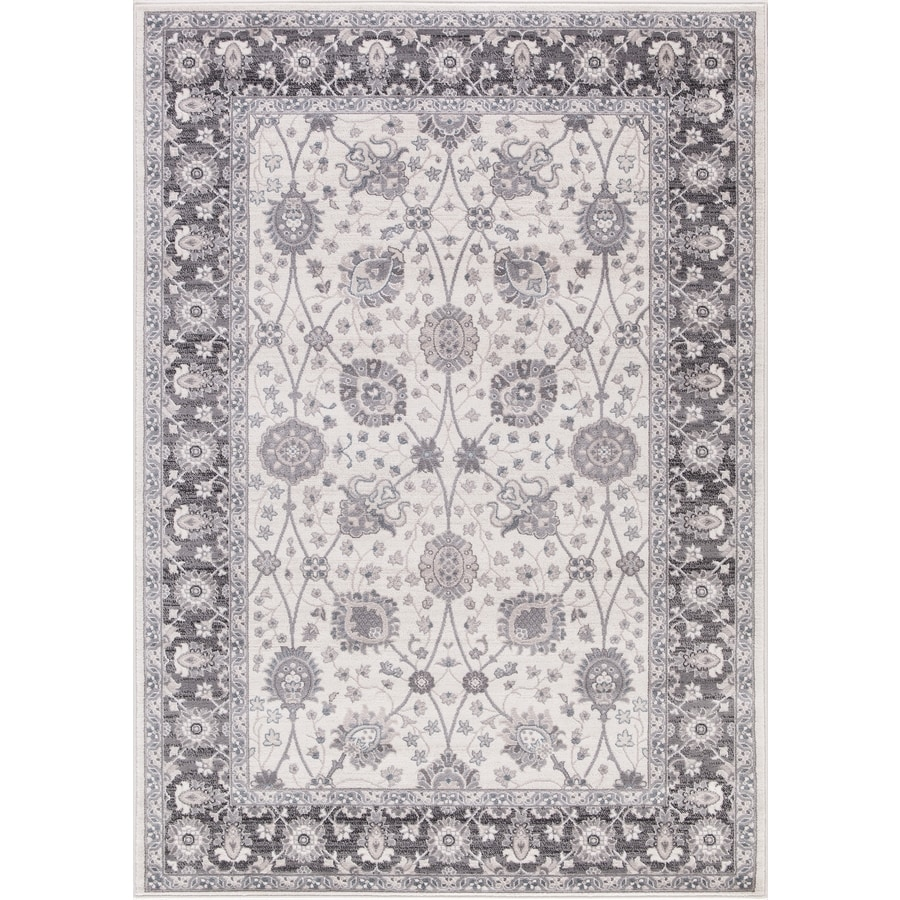 Concord Global Palermo Ivory/Gray Rectangular Indoor Machine-Made Oriental Area Rug (Common: 7 x 10; Actual: 6.58-ft W x 9.25-ft L)