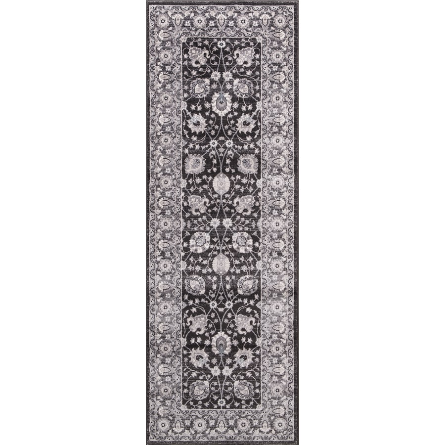 Concord Global Palermo Anthracite Rectangular Indoor Machine-Made Oriental Runner (Common: 2 x 8; Actual: 2.58-ft W x 7.58-ft L)