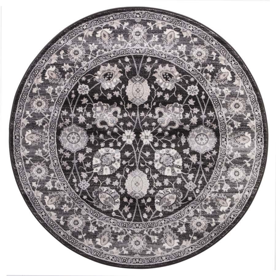 Concord Global Palermo Anthracite Round Indoor Machine-Made Oriental Area Rug (Common: 8 x 8; Actual: 7.83-ft W x 7.83-ft L x 7.83-ft Dia)