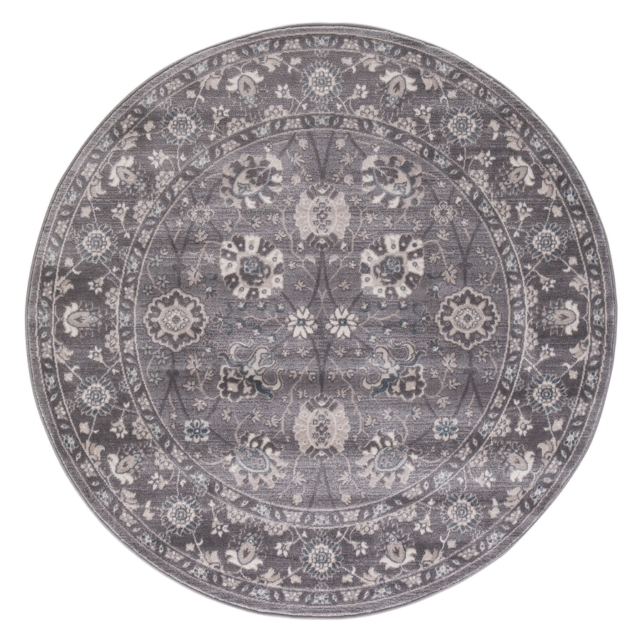 Concord Global Palermo Gray Round Indoor Machine-Made Oriental Area Rug (Common: 5 x 5; Actual: 5.25-ft W x 5.25-ft L x 5.25-ft Dia)