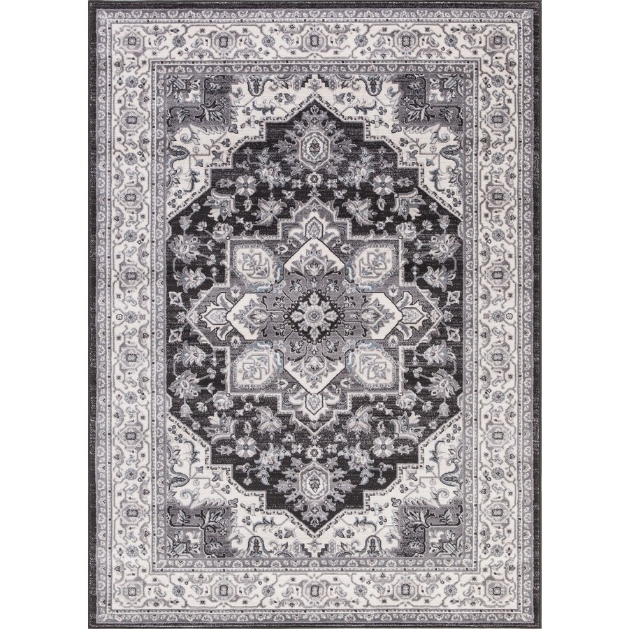 Concord Global Palermo Anthracite Rectangular Indoor Machine-Made Oriental Area Rug (Common: 7 x 10; Actual: 6.58-ft W x 9.25-ft L)