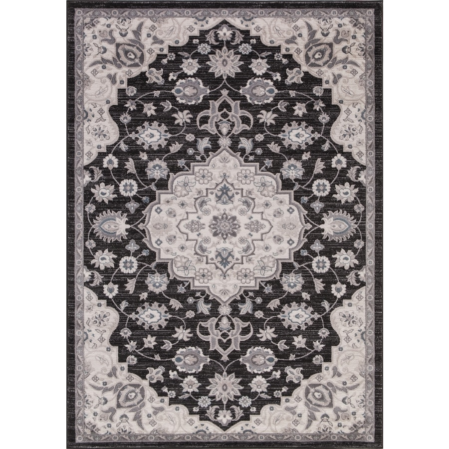 Concord Global Palermo Anthracite Rectangular Indoor Machine-Made Oriental Area Rug (Common: 5 x 8; Actual: 5.25-ft W x 7.58-ft L)
