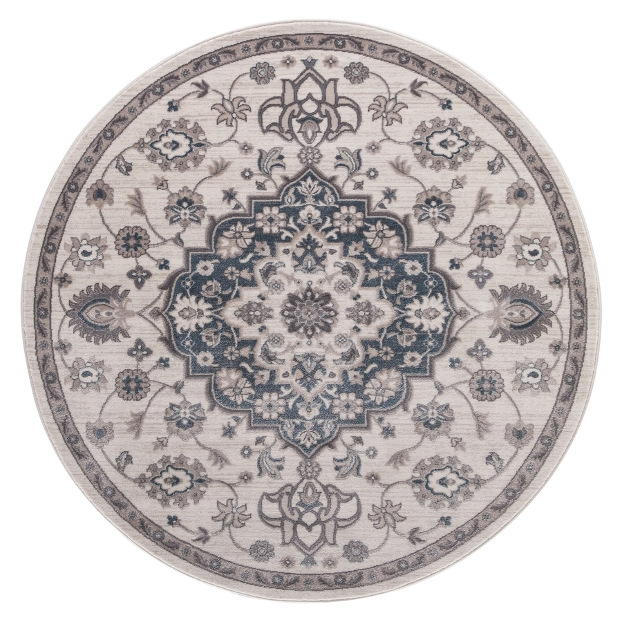 Concord Global Palermo Ivory/Blue Round Indoor Machine-Made Oriental Area Rug (Common: 5 x 5; Actual: 5.25-ft W x 5.25-ft L x 5.25-ft Dia)
