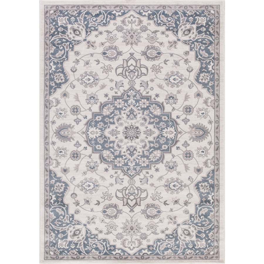 Concord Global Palermo Ivory/Blue Rectangular Indoor Machine-Made Oriental Area Rug (Common: 5 x 8; Actual: 5.25-ft W x 7.58-ft L)