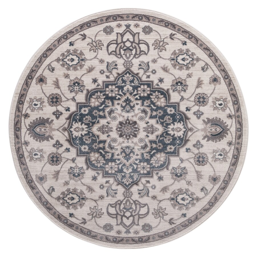 Concord Global Palermo Ivory/Blue Round Indoor Machine-Made Oriental Area Rug (Common: 8 x 8; Actual: 7.83-ft W x 7.83-ft L x 7.83-ft Dia)